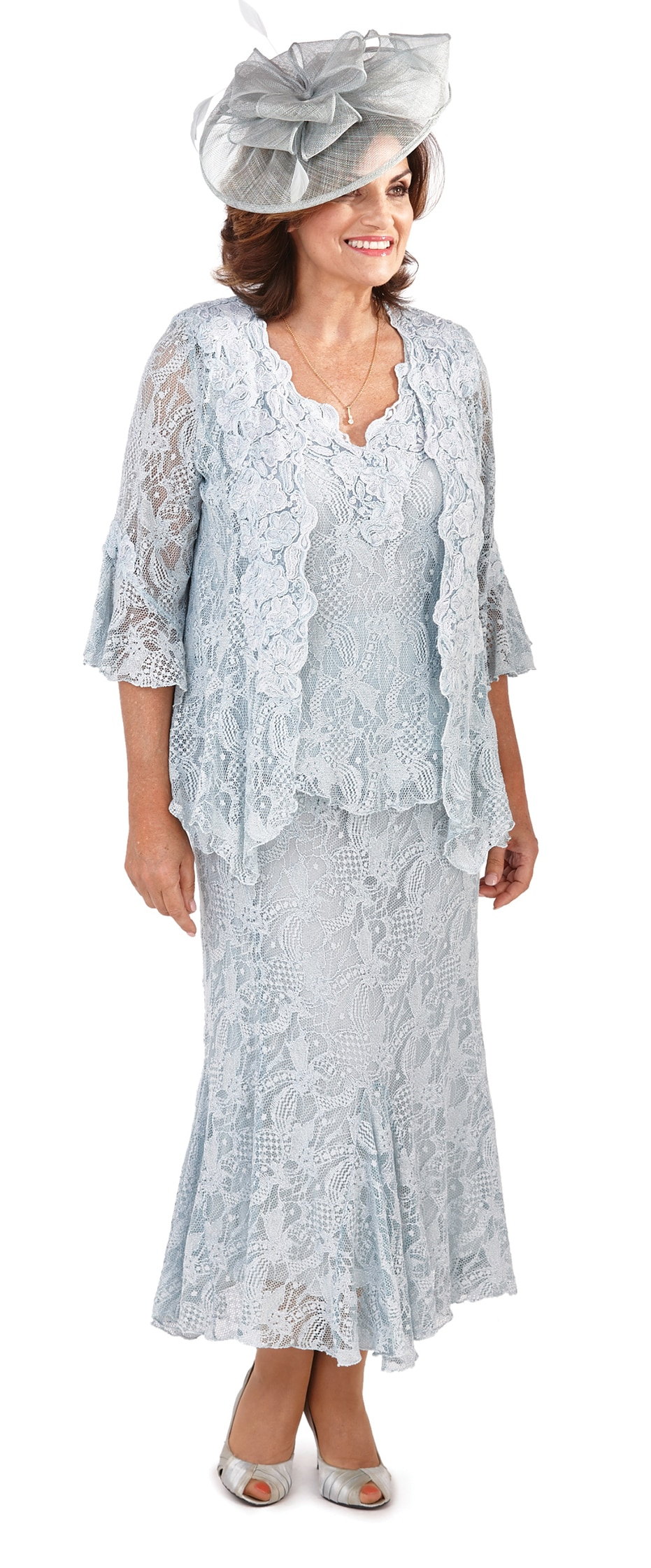 Outfit with an embellished neckline drawing attention away from lower body